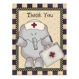 Thank You Elephant Nurse postcard