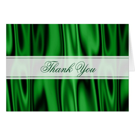 Thank You:  Emerald Green Faux Satin Fabric Card