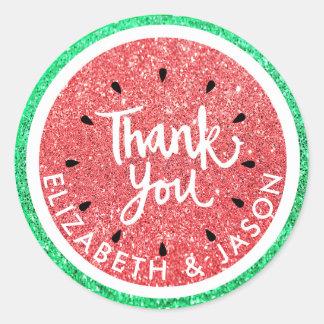 thank you faux glitter watermelon classic round sticker