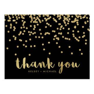 Thank You | Faux Gold Confetti on Black Postcard