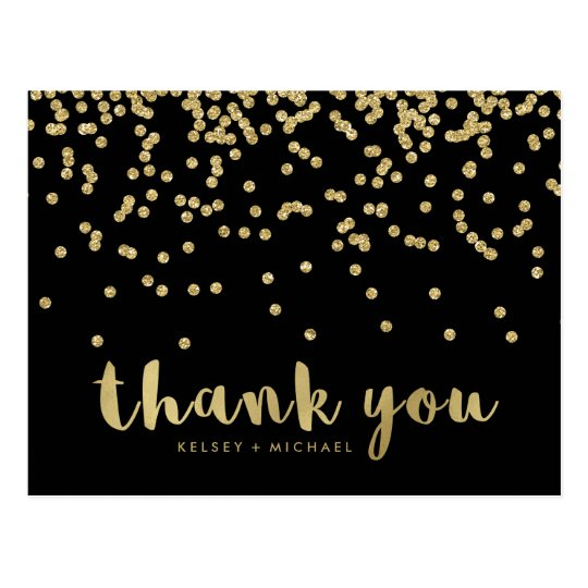 Thank You | Faux Gold Confetti on Black Postcard