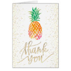 thank you faux gold script watercolor pineapple card