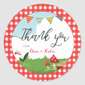 Thank You Favor Sticker | Picnic/BBQ/Woodland