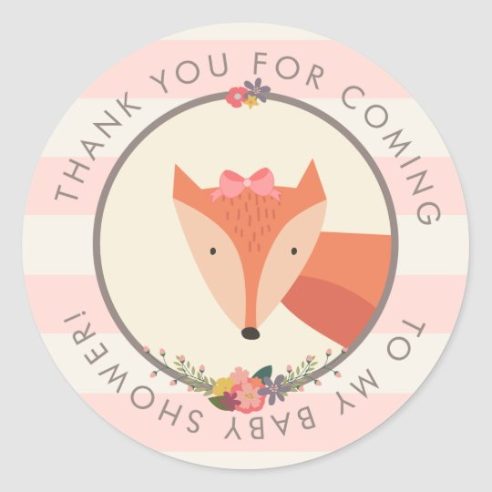 Thank You Favour Fox Girl Baby Shower Classic Round Sticker