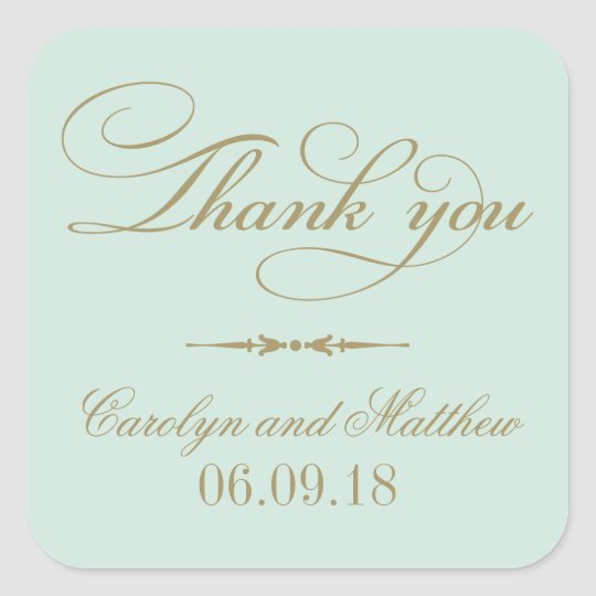 Thank You Favour Sticker | Mint and Antique Gold