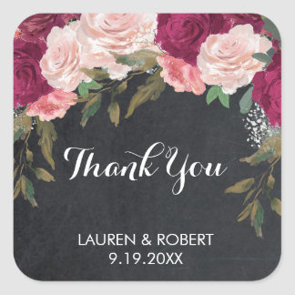 thank you favour stickers burgundy pink floral