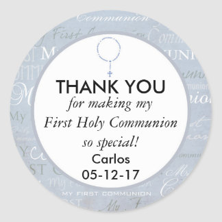 Thank you First Holy Communion Boy Round Sticker