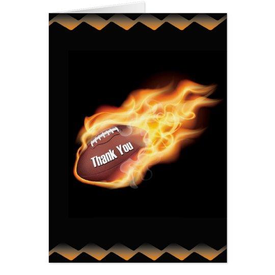 Thank You Flaming Football Card