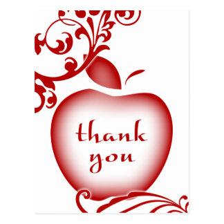 thank you floral apple postcard