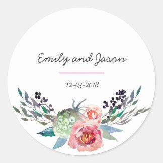 Thank you floral bouquet wedding sticker