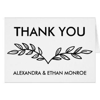 Thank You Floral Leaf Black & White Laurel Leaves Card