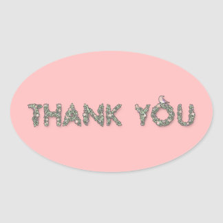 Thank You Floral Oval Sticker