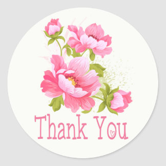 Thank You Floral Pink Peonies Flower Wedding Classic Round Sticker