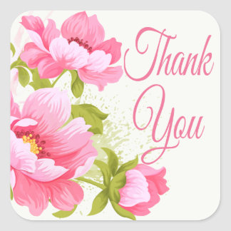 Thank You Floral Pink Peonies Flower Wedding Square Sticker