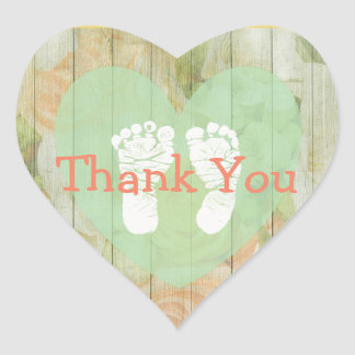 Thank You Floral Rustic Wood Baby Shower Stickers