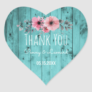 Thank You Floral | Rustic Wood Teal Wedding Favor Heart Sticker