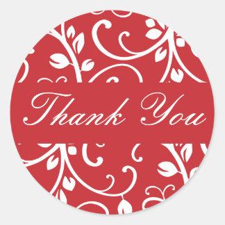 Thank You Floral Vine Envelope Sticker Seal