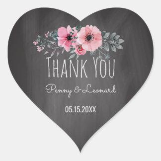 Thank You Floral   Wedding Favor Chalkboard Heart Sticker