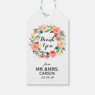 """Thank You"" Floral Wreath Wedding Favor2 Gift Tags"