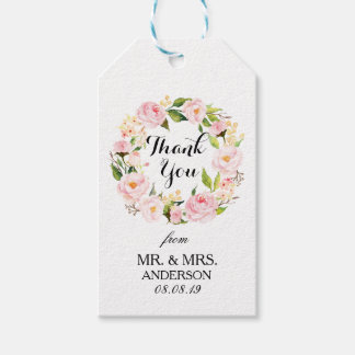 """Thank You"" Floral Wreath Wedding Favor3 Gift Tags"