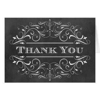 Thank You Folded Cards Chalkboard Flourish