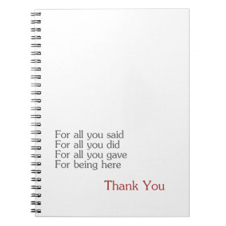 Thank you for all spiral notebook