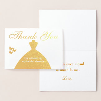 Thank You for attending my bridal shower Foil Card