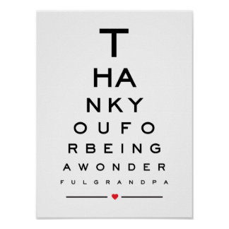 Thank you for being a wonderful grandpa eye chart