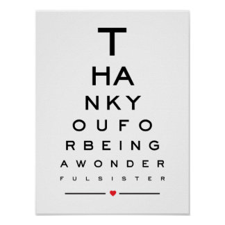 Thank you for being a wonderful sister eye chart