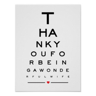 Thank you for being a wonderful wife eye chart