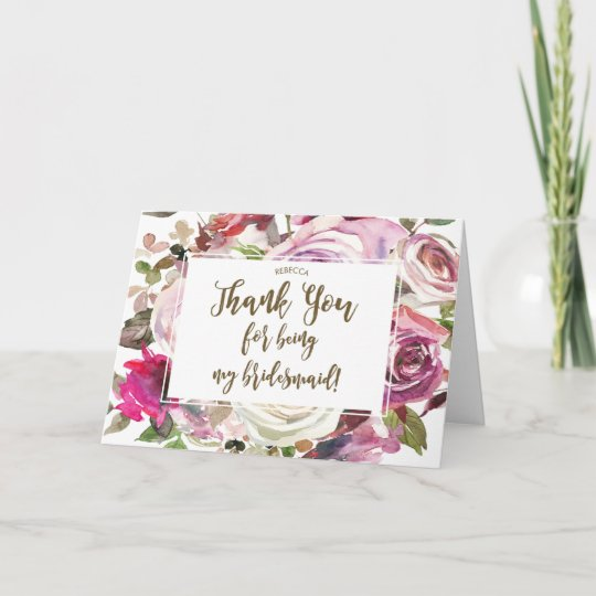 thank you for being my bridesmaid card  zazzleca
