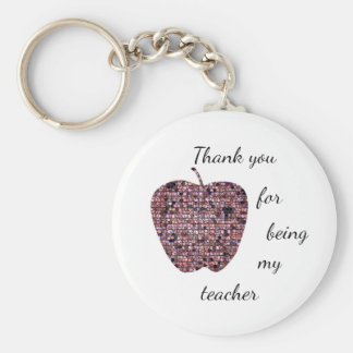 Thank You For Being My Teacher Stained Glass Apple Keychain