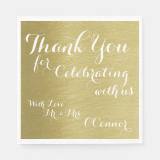 thank you for celebrating with us, faux gold paper napkin