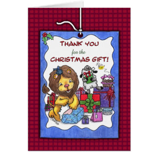 Thank You for Christmas Gift-Lion and Lamb Card