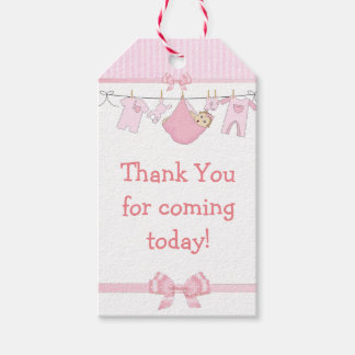 Thank you for Coming Pink Baby Shower Gift Tag Pack Of Gift Tags