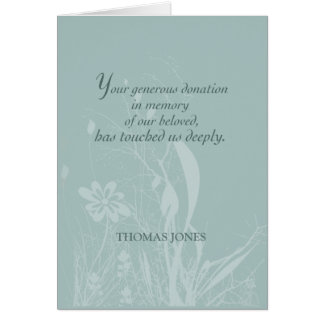 Thank you for Donation In Memory, Organic Flower Card