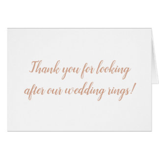 Thank you for looking after our wedding rings card