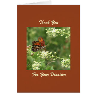 Thank You for Memorial Donation, Orange Butterfly Card