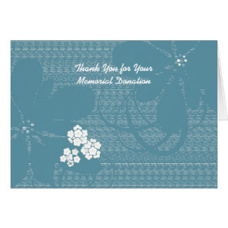 Thank You for Memorial Donation Pastel Blue Floral Note Card