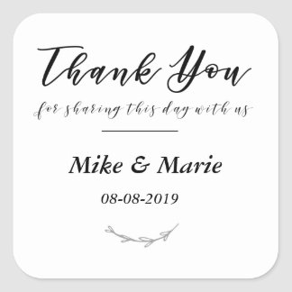 Thank You For Sharing This Day With Us Favor Label Square Sticker