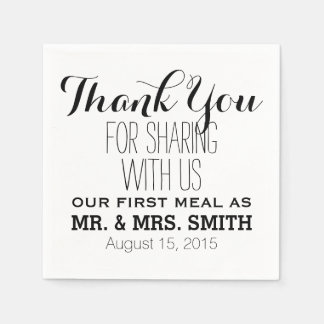 Thank you for sharing with us first meal wedding paper napkin