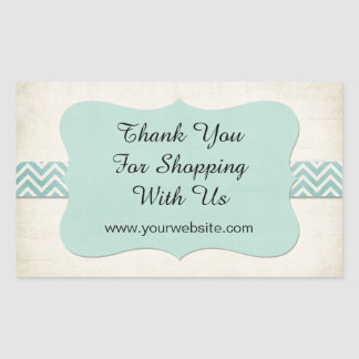 'Thank You for Shopping With Us' Mint Business Sticker