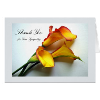 Thank You for Sympathy, Calla Lilies Card