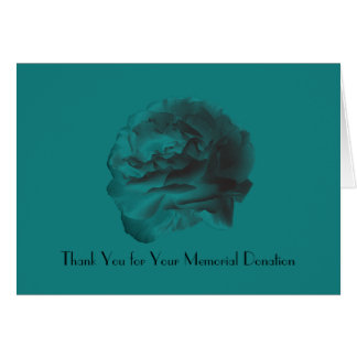 Thank You For the Memorial Donation, Teal Rose Card