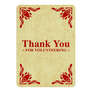 "thank you for volunteering 5"" x 7"" invitation card"