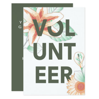 thank you for volunteering flowers card