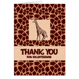 Thank You for Volunteering Giraffe Print Cards