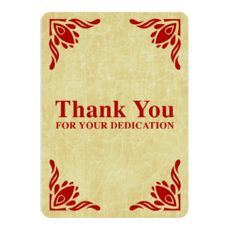 """thank you for your dedication 5"""" x 7"""" invitation card"""