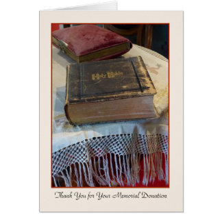 Thank You for Your Memorial Donation Vintage Bible Card