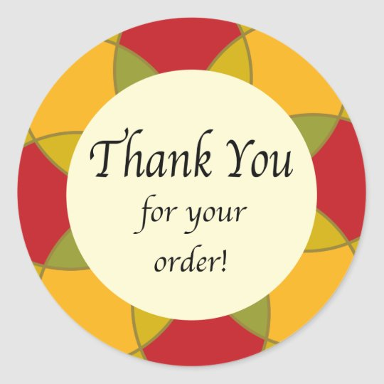 Thank you for your order geometric floral classic round sticker